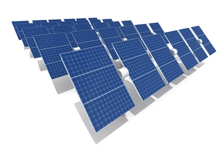 Solar power plant isolated on white background photo