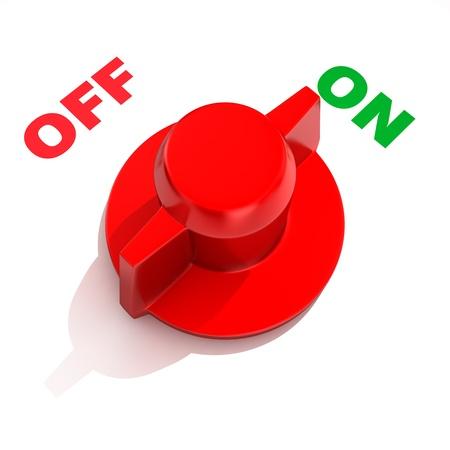 "boton on off: Interruptor de palanca anal�gica en la posici�n ""ON"" Foto de archivo"