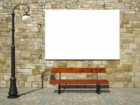 Blank billboard sur le mur de briques avec de la lumière à l'ancienne rue et le banc