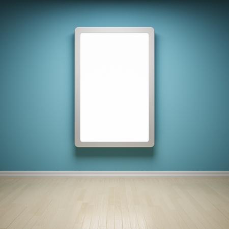 Blank advertising billboard in empty room photo