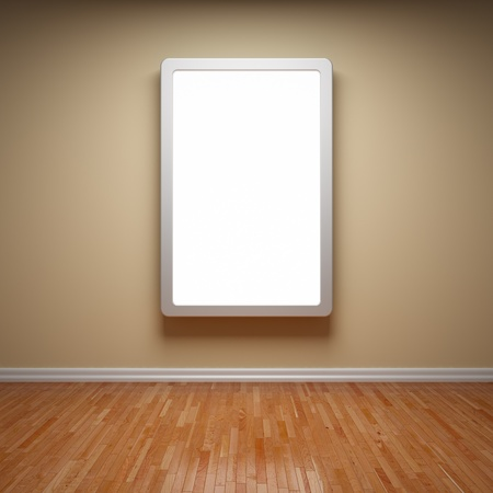 Blank advertising billboard in empty room photo