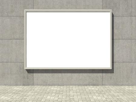 Blank advertising billboard on concrete wall photo