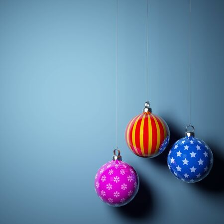 Card blank with christmas balls on blue background photo