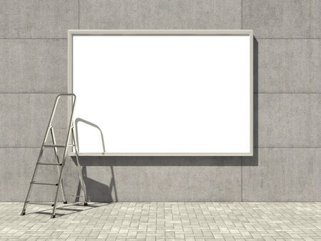 Blank advertising billboard on concrete wall with ladder photo