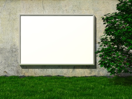 placards: Blank advertising billboard on concrete wall with tree on lawn Stock Photo