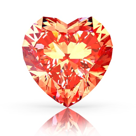 Red diamond heart isolated on white background Stock Photo - 12389142