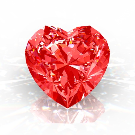 ruby stone: Red diamond heart isolated on white background