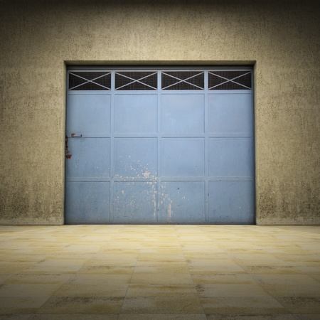 Illuminated space of grungy concrete with metallic door photo