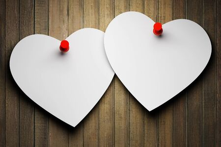 Blank paper hearts on wooden background photo