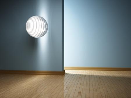 Empty modern interior with futuristic lamp photo