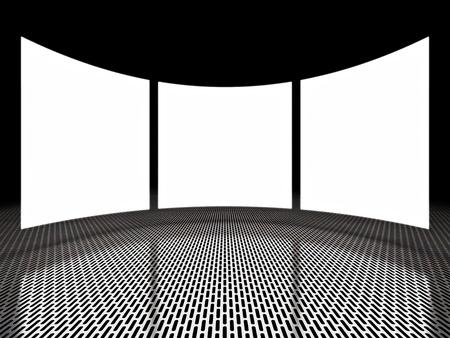 Empty light screen displays around black space Stock Photo - 12389163