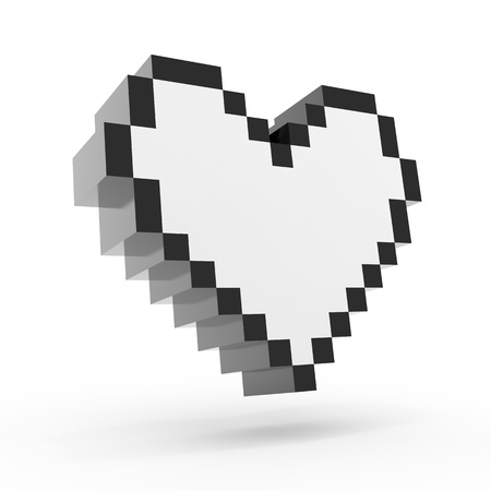 Pixel heart isolated on white background photo