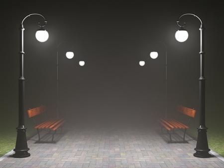 lampposts: Una escena de la noche rom�ntica. Iluminado callej�n, parque con la luz antigua calle de moda y un banco Foto de archivo