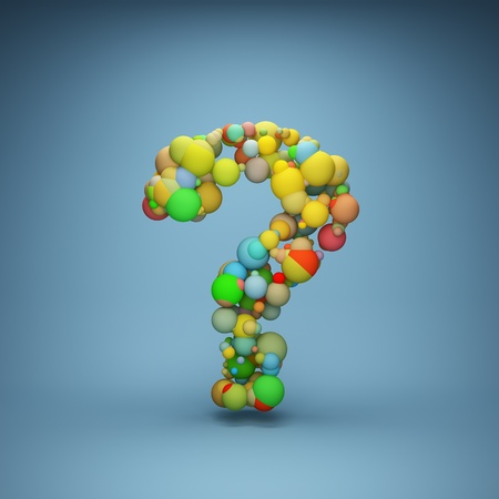 uncertainty: Abstract question mark made of colorful balls Stock Photo