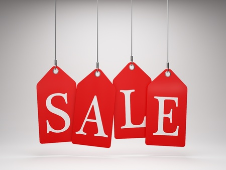 Red sale tags hanging Stock Photo - 12389149