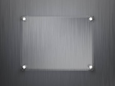 Glass frame on metallic surface photo