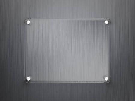 glass panel: Glass frame on metallic surface