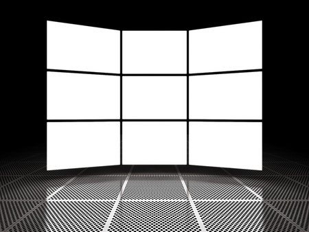 Empty light screen displays around black space Stock Photo - 12389154