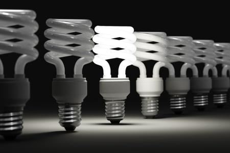 fluorescent light: One illuminated light among many of the disabled Stock Photo