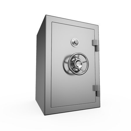 Bank safe isolated on white background photo