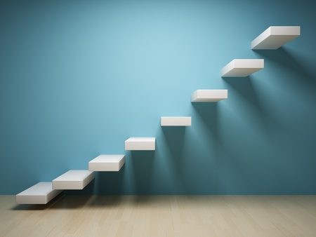 Abstract steps up in interior photo