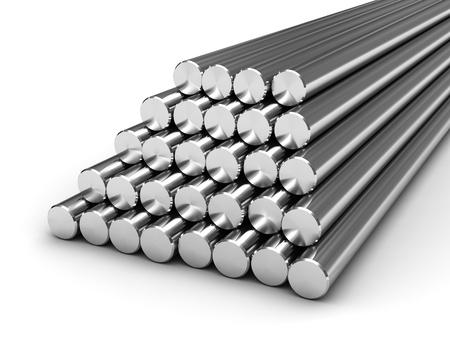 Barres rondes en acier isolé sur fond blanc