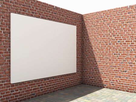 Blank advertising billboard on brick wall photo