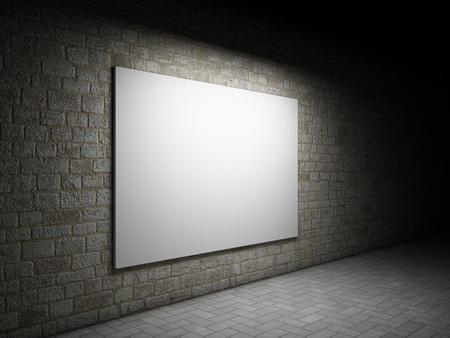 muro: Blank cartellone pubblicitario su un muro di mattoni di notte