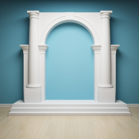 Columns with arch in interior photo
