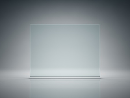 Blank glass plate on illuminated background photo