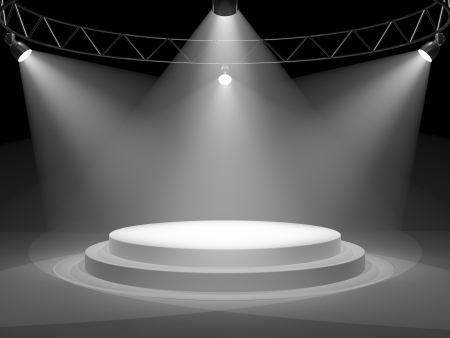 Empty stage in spot lights photo