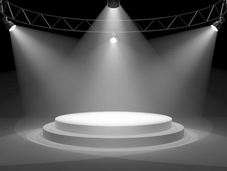 b�hne: Leere B�hne im Scheinwerferlicht