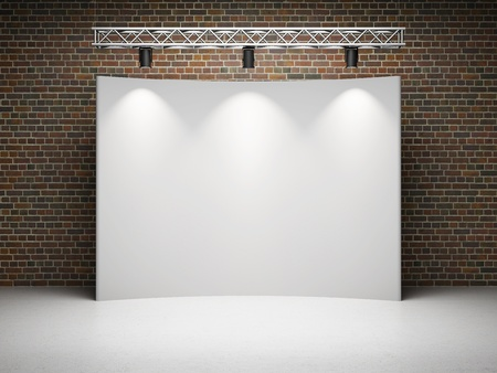 spot advertising: Blank trade exhibition stand with screen and spot lights on brick wall