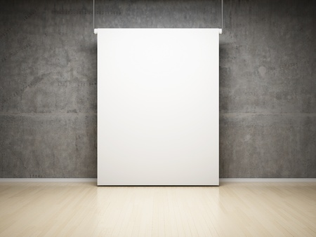 Empty white projection screen in studio on concrete wall photo