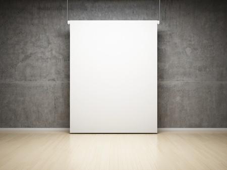 pared iluminada: Vaciar pantalla de proyecci�n blanca en el estudio sobre la pared de hormig�n