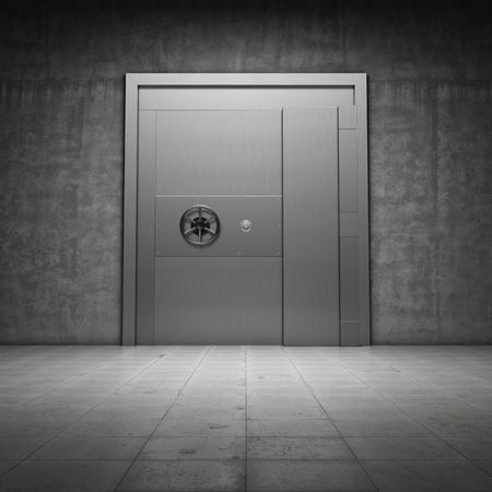 caja fuerte: Banco b�veda con puerta de metal Foto de archivo