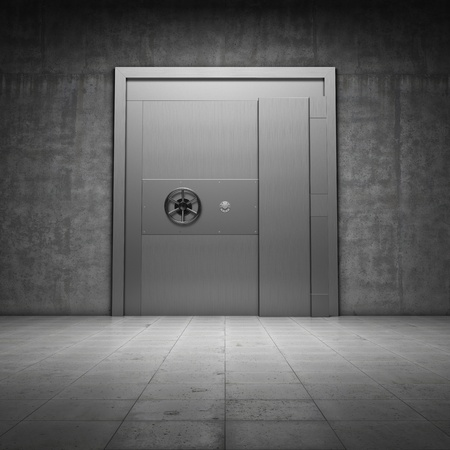 bank protection: Bank vault with metal door Stock Photo