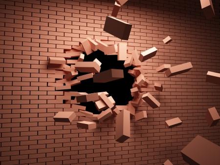 derrumbe: Fuerte golpe en la pared de ladrillo destruye