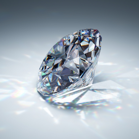 the caustic: Brilliant diamond on blue background Stock Photo