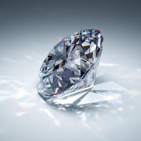 pietre preziose: Diamante brillante su sfondo blu Archivio Fotografico