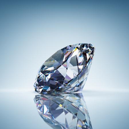 Brilliant diamant op blauwe achtergrond Stockfoto