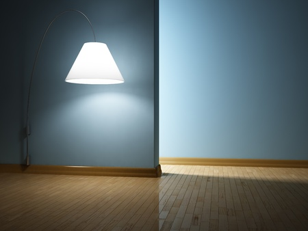 Empty modern interior with lamp photo