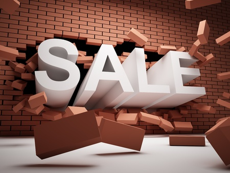 Brick wall is destroyed by the word of SALE Stock Photo - 12878925