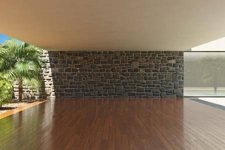 parquet floor: Empty modern terrace with timber floor