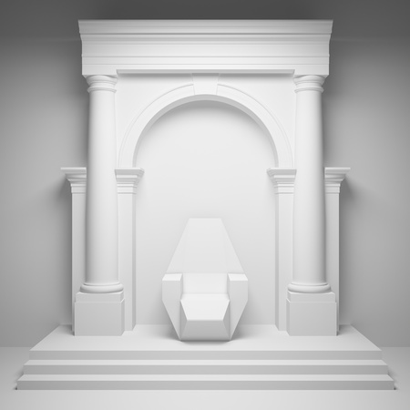 Columns with arch and throne Stock Photo