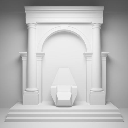 trono: Las columnas con arco y el trono