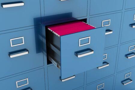 filling folder: File cabinet with open drawer