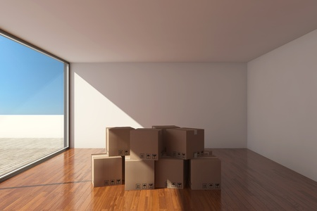 moving crate: Empty modern hall with cardboard boxes Stock Photo