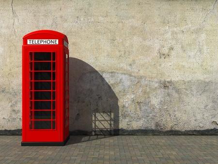 cabina telefonica: Cabina de teléfono rojo clásico en la sucia pared del grunge