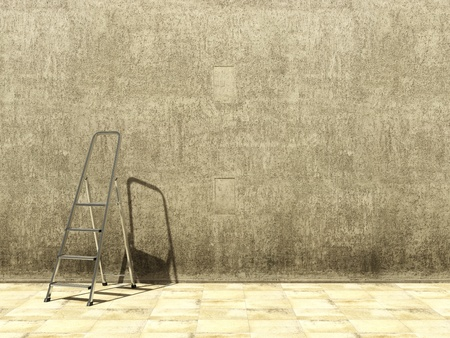 Blank dirty grunge wall with ladder Stock Photo - 13275862